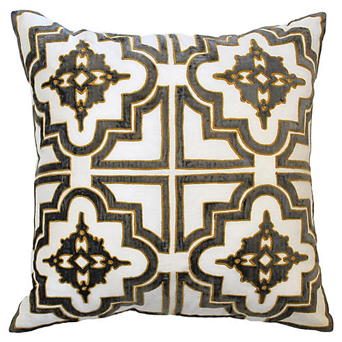 Belgrove 20x20 Pillow, Pewter Velvet