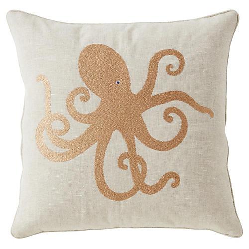 Cornwall 20x20 Pillow, Gold/Ivory Linen