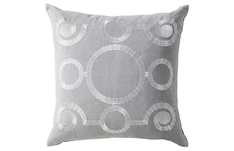 Adelphi 20x20 Pillow, Silver/Gray Linen