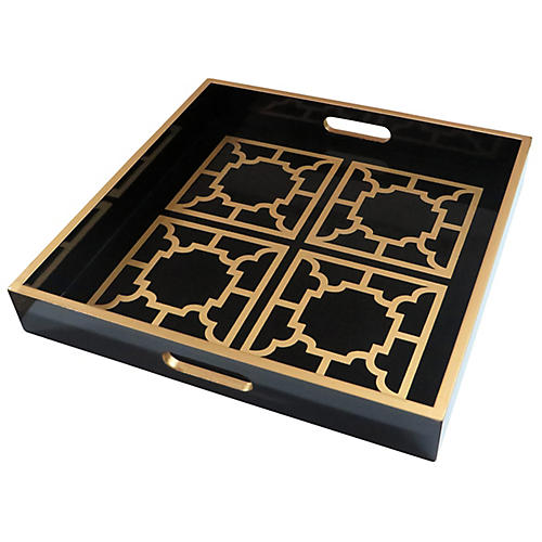 "18"" Manette Decorative Tray, Black/Gold"