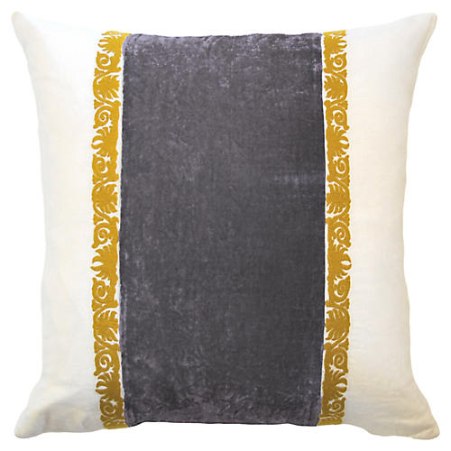 Francesca 22x22 Pillow, Gray Velvet