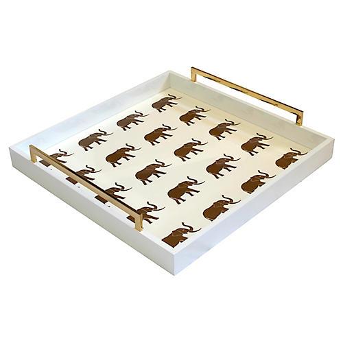 """20"""" Meru Square Elephant Tray, Ivory/Gold"""
