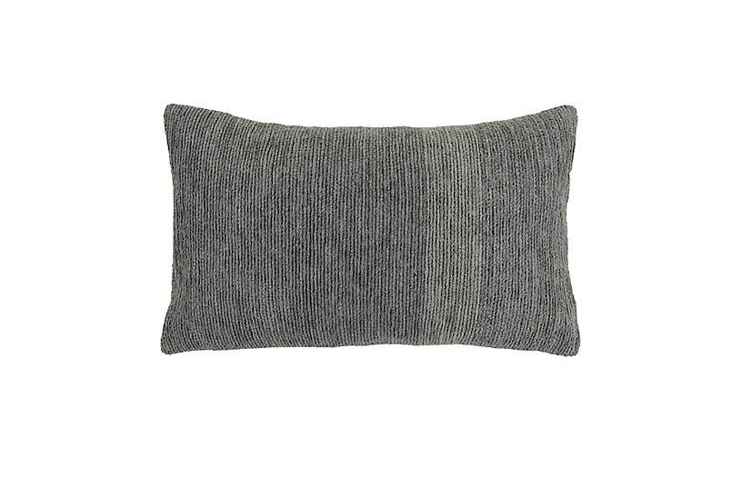 Chennile Embroidery 12x20 Lumbar Pillow, Gray