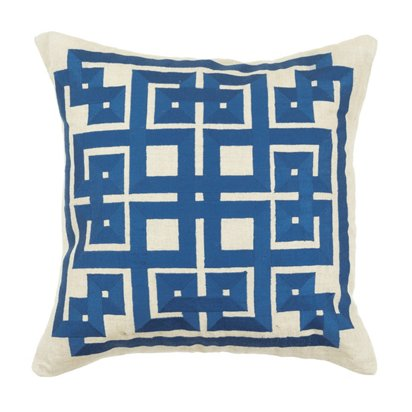 Thurston Reed Embroidered Geo Pillow Blue One Kings Lane
