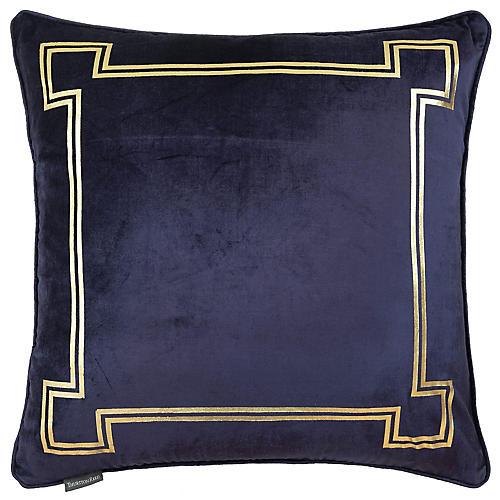 Aria 24x24 Pillow, Blue Velvet