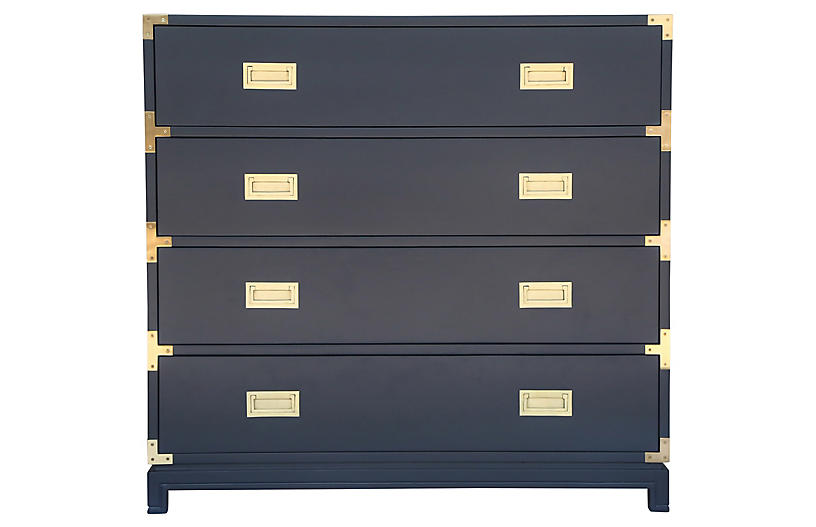 Carlyle 4-Drawer Campaign Dresser, Navy