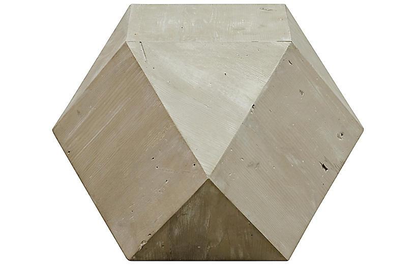 Icosahedron Side Table, Graywash