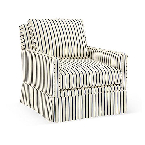 Auburn Swivel Club Chair, Cream/Blue Stripe