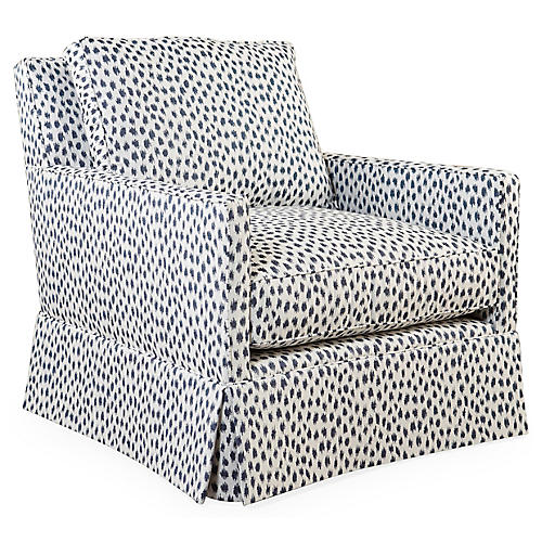 Auburn Club Chair, Indigo Spot Sunbrella