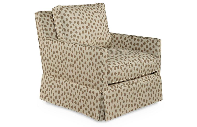 Auburn Club Chair, Cafe Polka Sunbrella