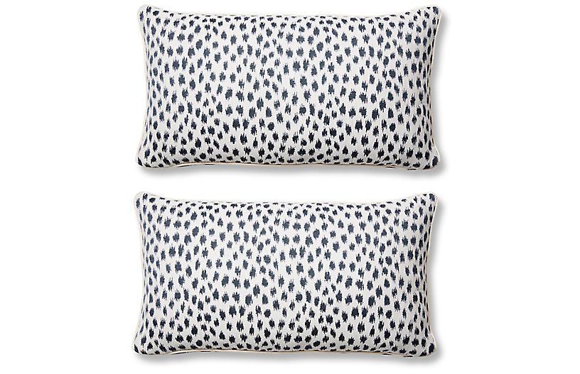 S/2 Agra Lumbar Pillows, Indigo Sunbrella