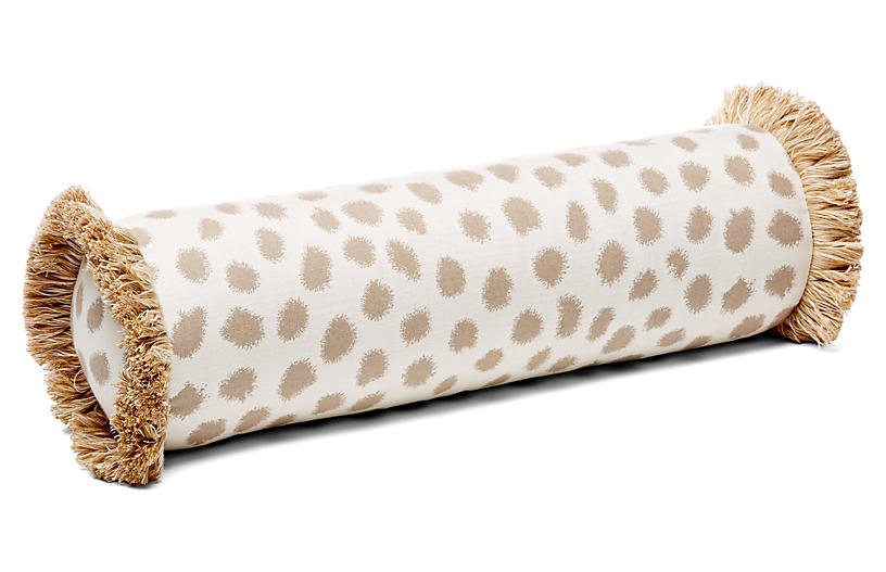 Poka 7x21 Bolster Pillow, Taupe/Ivory Sunbrella