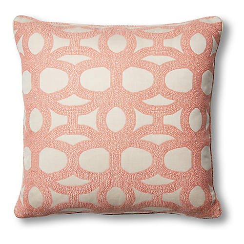 Avery 20x20 Pillow, Coral/White