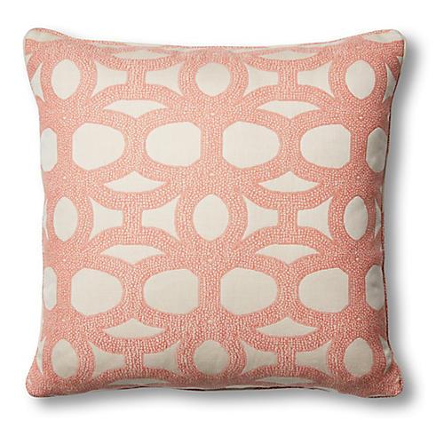 Avery 20x20 Pillow, Coral/White