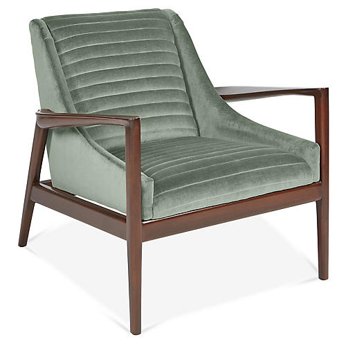 George Accent Chair, Sage Velvet