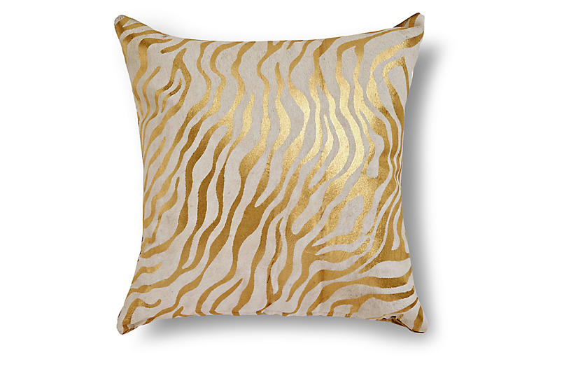 Zebra Striped Pillow, Gold