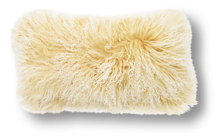 Tibetan Lumbar Pillow, Tipped Beige