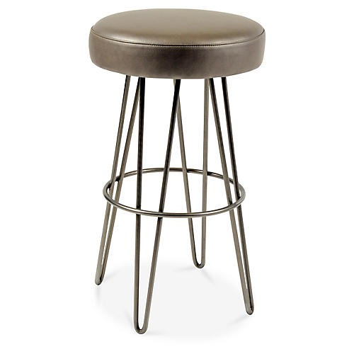Hairpin Swivel Barstool, Pewter/Mushroom Leather