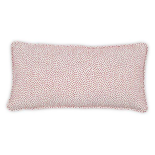 Dotted Lumbar Pillow, Red