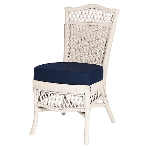 Plantation Side Chair, White/Navy