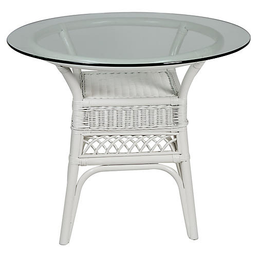Plantation Glass-Top Side Table, White