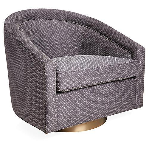 Benson Swivel Club Chair, Graphite