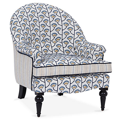 Tatum Accent Chair, Indigo Tulip