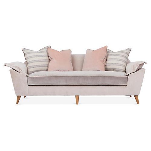 Annelise Sofa, Sand/Light Gray Velvet