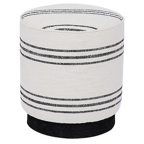 Pepper Stool, Black/White Stripe