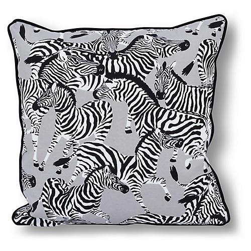 Zebra 20x20 Outdoor Pillow, Gray/Multi