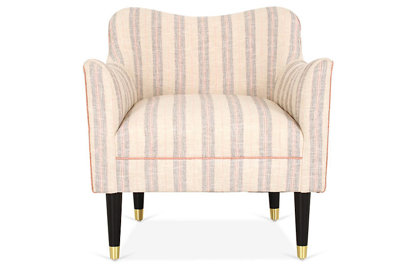 Alexander Accent Chair, Gray/Blush Stripe