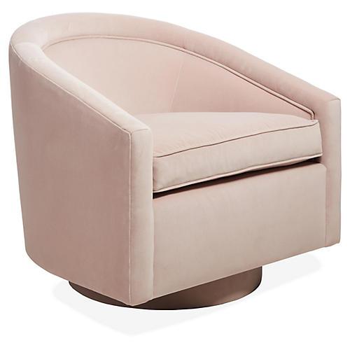 Benson Swivel Chair, Mauve Velvet