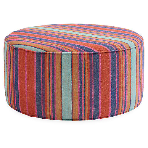 Devi Ottoman, Red/Multi Stripe