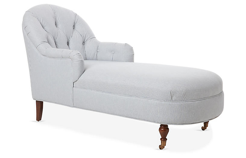 Marlowe Chaise, Blue/White Linen