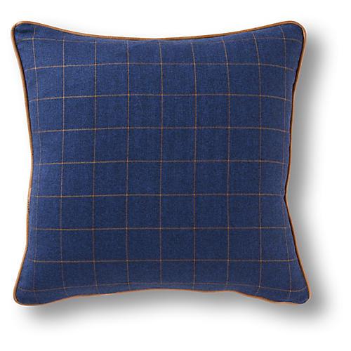 Glasgow 19x19 Pillow, Navy/Caramel
