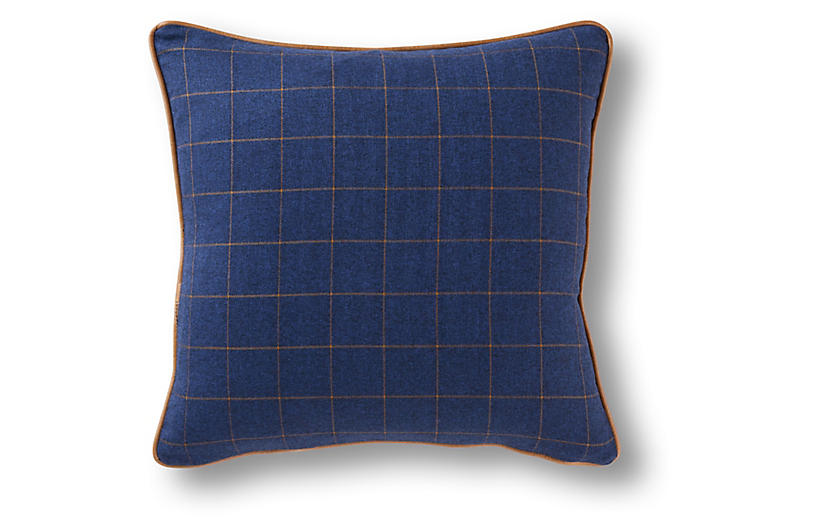 Glasgow 19x19 Pillow, Navy/Caramel