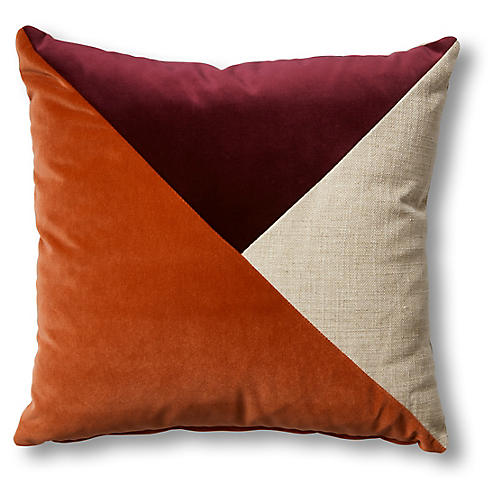 Thea 19x19 Pillow, Natural/Wine