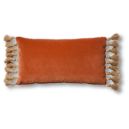 Koren 12x23 Lumbar Pillow, Orange Velvet