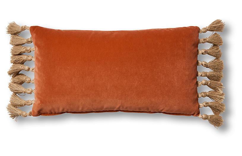 Koren 12x23 Lumbar Pillow, Orange Velvet