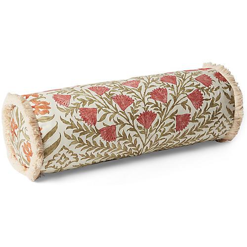 Simona 7x27 Bolster Pillow, Sage/Rust