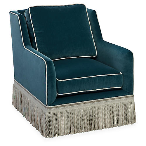 Portsmouth Club Chair, Teal Velvet