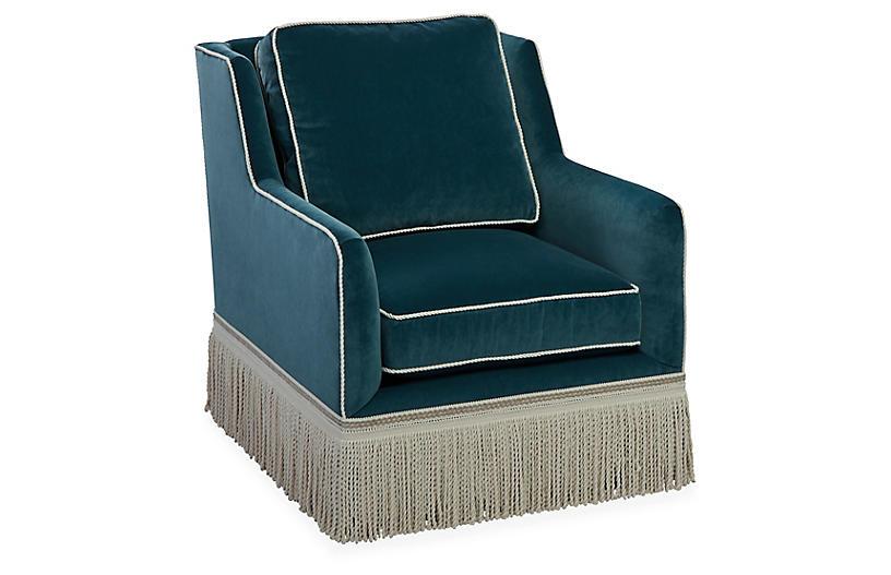 Portsmouth Club Chair, Teal Velvet