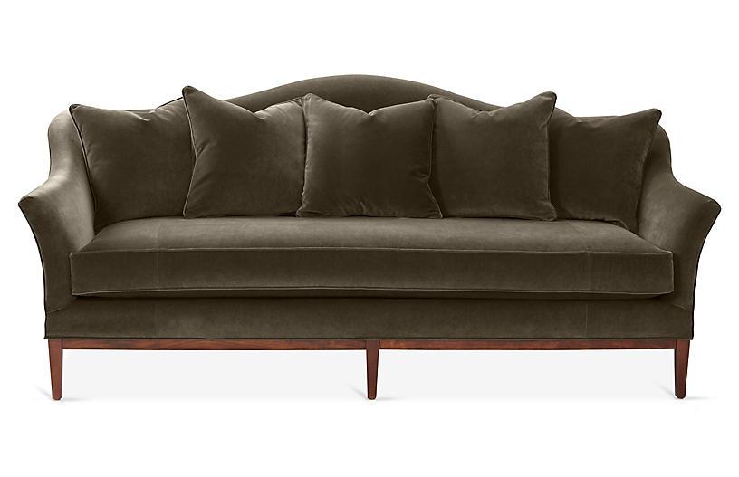 Eloise Camelback Sofa, Charcoal Velvet