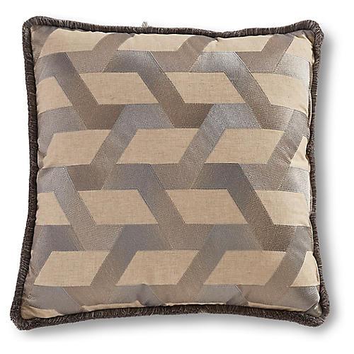 Dillon 22x22 Trellis Pillow, Silver/Taupe