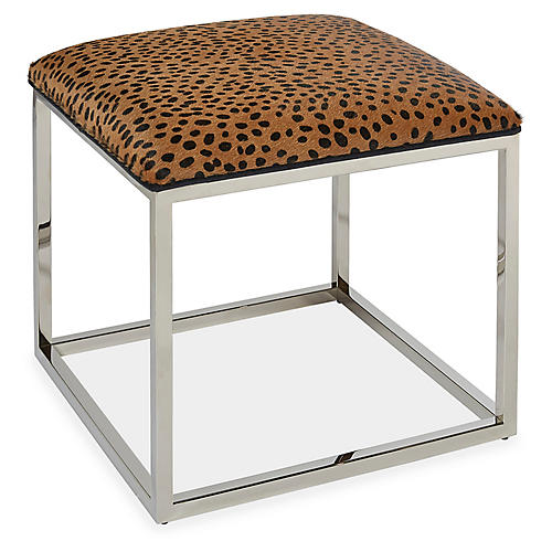 Edie Ottoman, Leopard Hair-On-Hide Leather