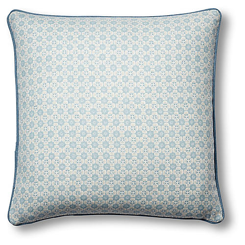 Palisades 19x19 Pillow, China Blue Linen