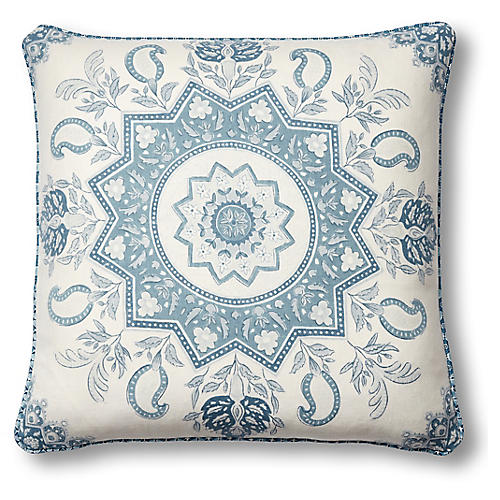 Montecito 19x19 Pillow, Blue Linen