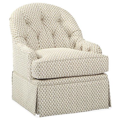 Marlowe Swivel Club Chair, Flax/White