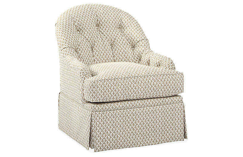 Marlowe Swivel Club Chair, Flax/White