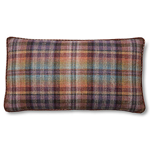 Mills 12x23 Lumbar Pillow, Purple Plaid/Chocolate